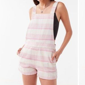 Urban Outfitters Pink & White Plaid Overall Shorts